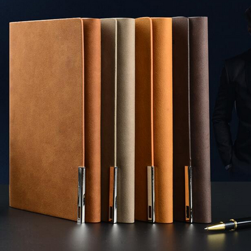 Leather cover a5 loose-leaf notebook logo customized stationery books commercial notepad spiral binder agenda business book(China (Mainland))