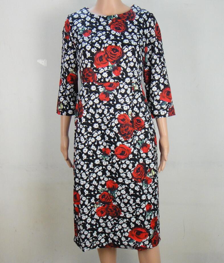 Vestidos De Festa Half Robe New Arrival Large Size 2015 Dresses Fashion Women Limited Brands Rose Floral Print Long Sheath Dress(China (Mainland))