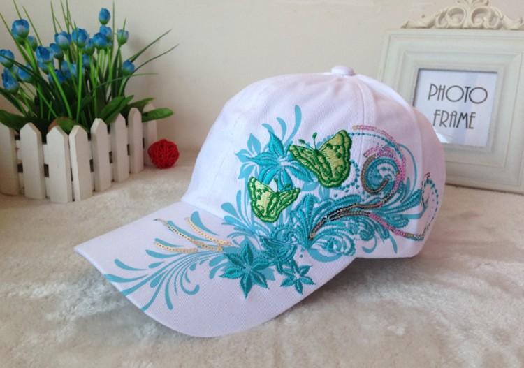 Miss Xia Tian Butterfly embroidery baseball hat Korean tidal outdoor sun visor cap visor hip hop(China (Mainland))