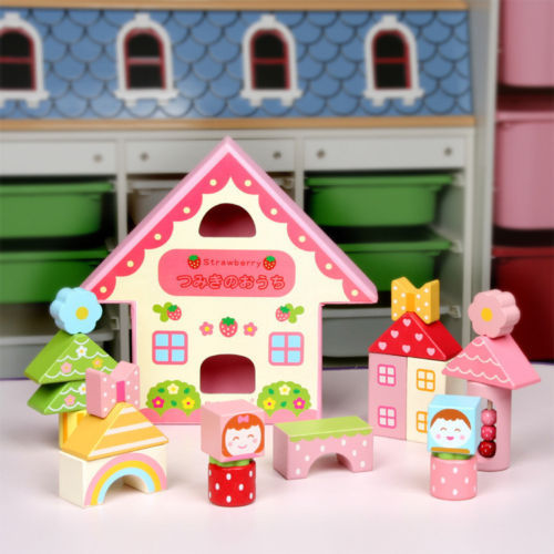 mother garden wooden toy gift colorful blocks strawberry play house 19pcs/set<br><br>Aliexpress