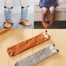Winter Style Cute Cartoon Fox Baby Children Leg Warmers Knee-high Warm Dot Socks For Girls Boys(China (Mainland))
