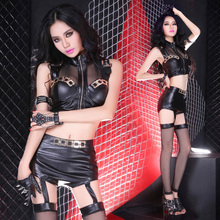 nightclubs clothing uniform temptation DJ women performance costume/apparel sexy perspective crop top+garter shorts suit stage