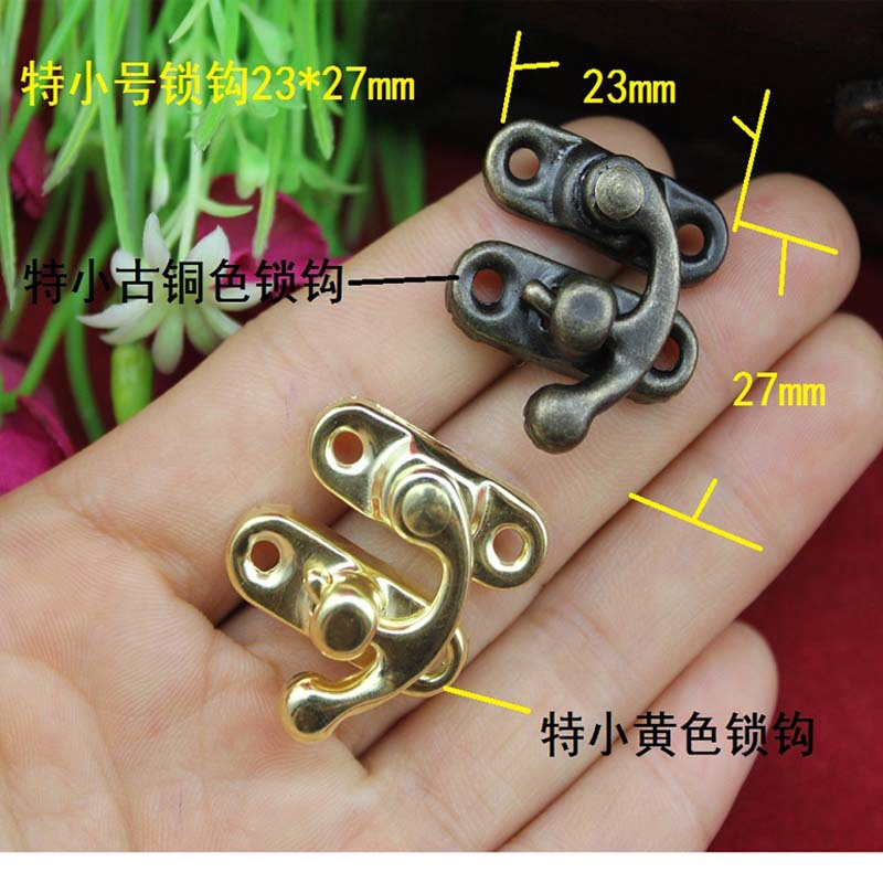 23 * 27MM special small cosmetics case clasp buckle latch hook antique tin bronze buckle lock horns(China (Mainland))