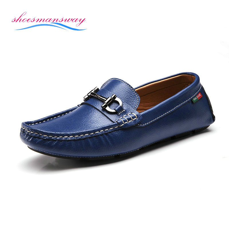 Fashion New Genuine Leather Mocassin Casual Flat Shoes For Men Driving Shoe Size 38 44 (Black ...