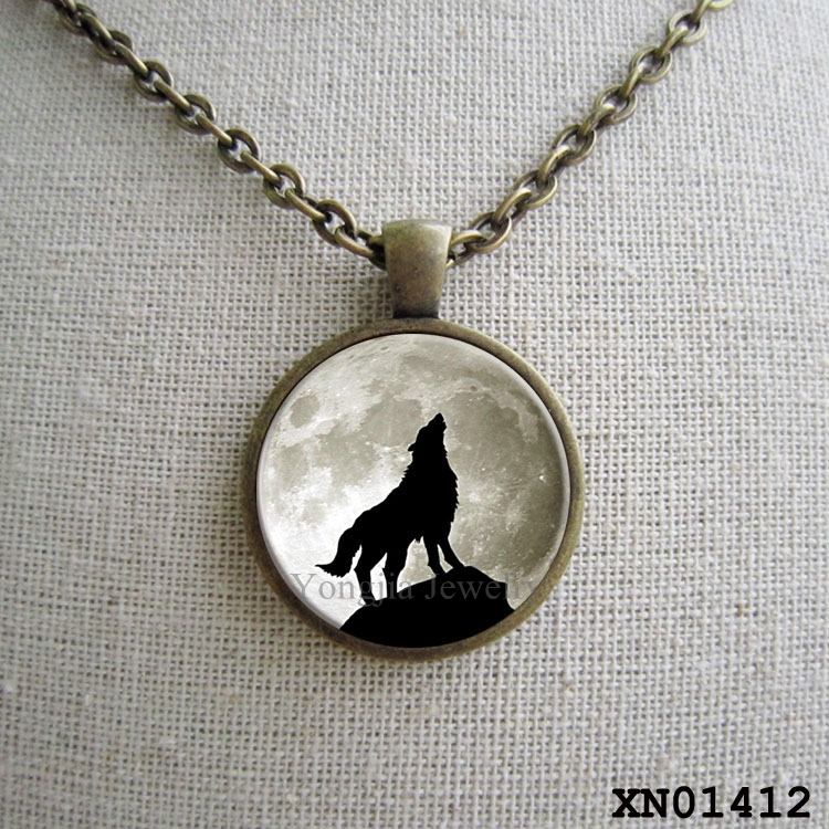 wolf moon necklace glass tile jewelry animal jewelry moon