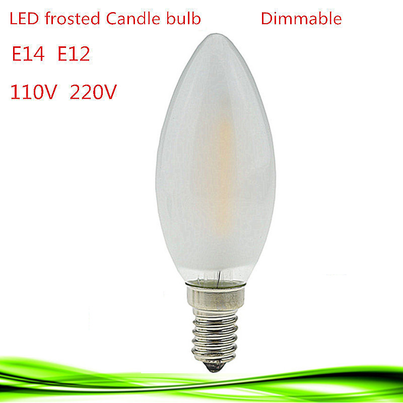 1X NEW 2W 4W 6W E14 E12 110V 220V dimmable LED Filament Candle Bulb frosted polish lamp Replace Incandescent Light Energy Saving(China (Mainland))