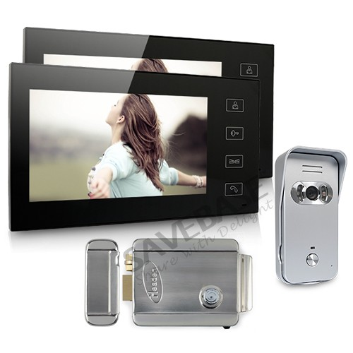 "New Wired Video Intercom System 2x 7"" Color Monitors + 1x 700TVL Camera + E-lock(China (Mainland))"
