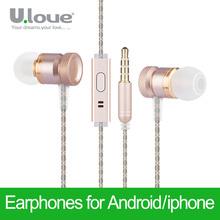 Ulove Earphone In-Ear Headset With Microphone Dj Hifi For iPhone 4s 5s 6s Plus Xiaomi Samsung HTC Sony MP3 MP4 Earphones(China (Mainland))