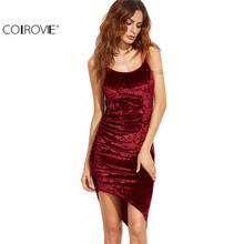 COLROVIE Burgundy Ruched Asymmetric Velvet Cami Dress Sexy Ladies Club Wear Sleeveless Slip Bodycon Mini Dress(China (Mainland))