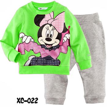 6sets/lot baby boy's girl's pajamas set long sleeve top+trousers Minnie pajamas set cartoon homewear  free shipping