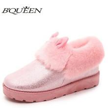 Impermeables botas de nieve del invierno de las mujeres más nuevo estilo encantador del oído rabbite rosa color niñas botines plana nobuck zapatos femenino(China (Mainland))