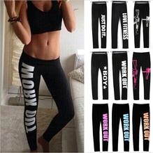 21 Colors S XL 2015 Woman s Leggings Plus Size WORK OUT Letters Leggings Slim Sportswear