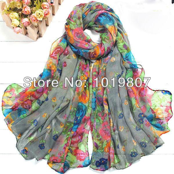 Hot Sale Women cotton Scarf Wraps Shawl Soft Scarve Flower Super Buy WJ01-Grey(China (Mainland))