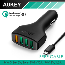 AUKEY Quick Charge 3.0 USB Car Charger adapter with 54W 4-Port and Micro USB Cable for LG G5 Samsung Galaxy S7/S6/Edge Nexus 6P(China (Mainland))
