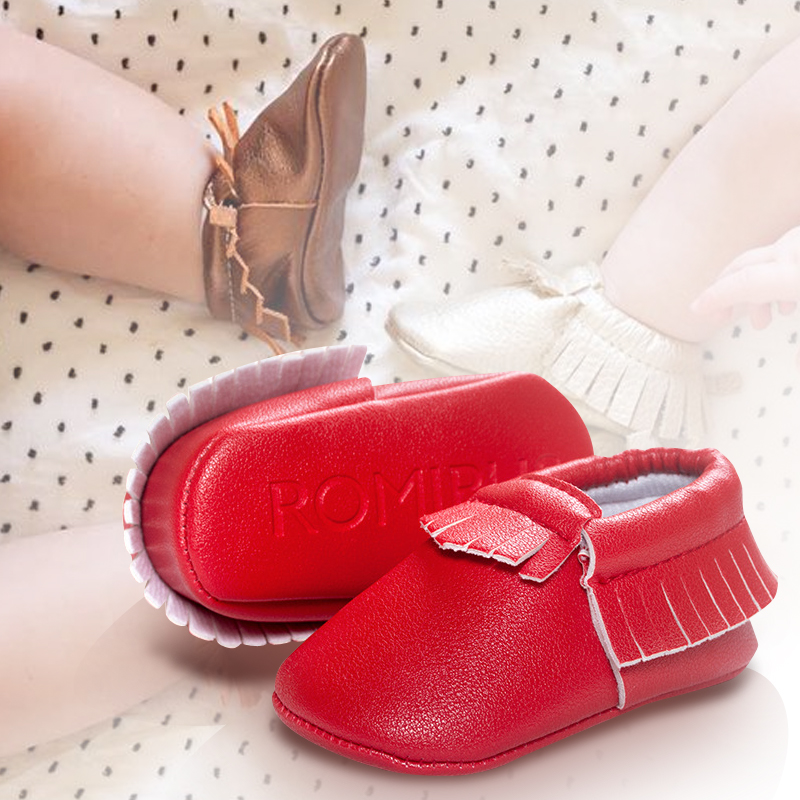 0-18 Months Baby Shoes PU Leather Soft Bottom Cute Tassels Newborn First Walkers Infant Boys Girls Shoes Baby Moccasins 15Colors(China (Mainland))