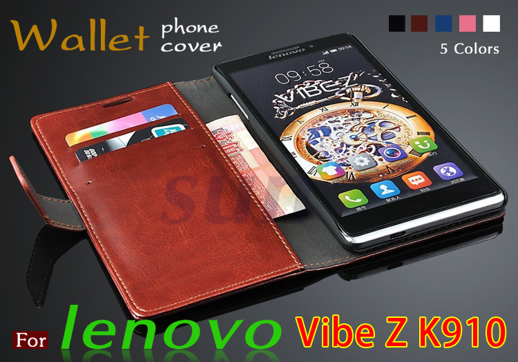 Lenovo k910 case cover Luxury Flip Original Phone Leather Case with Card Slot wallets bags for Lenovo Vibe Z K910 + Free Gift(China (Mainland))
