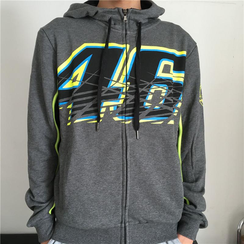 Купить Новый Хлопок MotoGP Валентино Росси VR46 Толстовки № 46 Куртки Мотокросс Гонки На Мотоциклах VR46 случайный свитер пальто