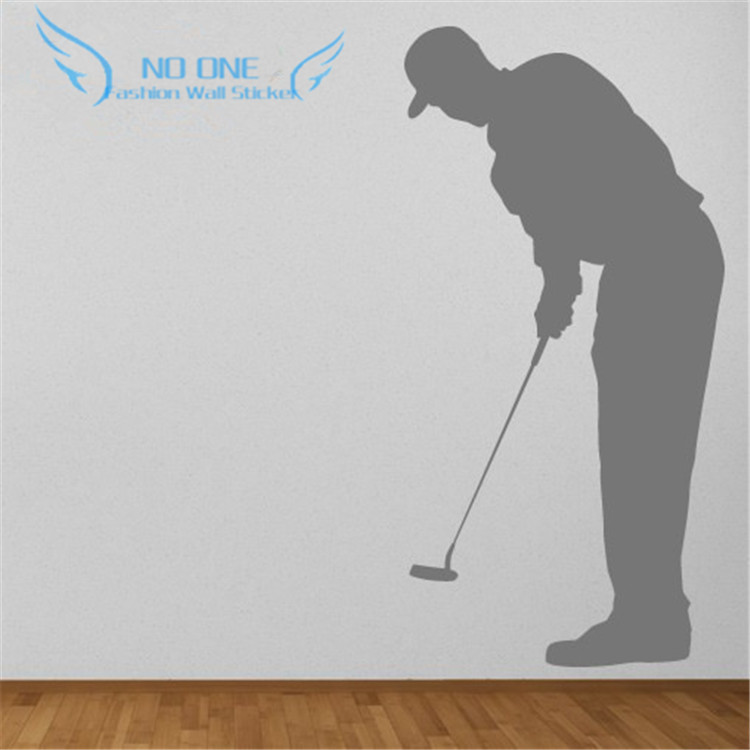 Left Golf Swing Wall Sticker Sports And Hobbies Golf Wall Art Decal Home Decor Stikers For Wall Decoration DIY(China (Mainland))