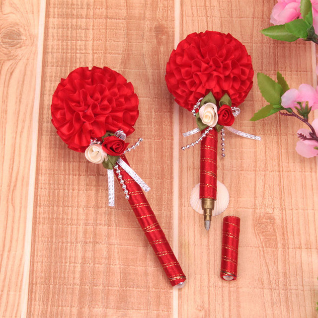 Rose Flower Ball Wedding Sign Pen Wedding Favors and Gifts for Guests Wedding Decor Supplies PH0128