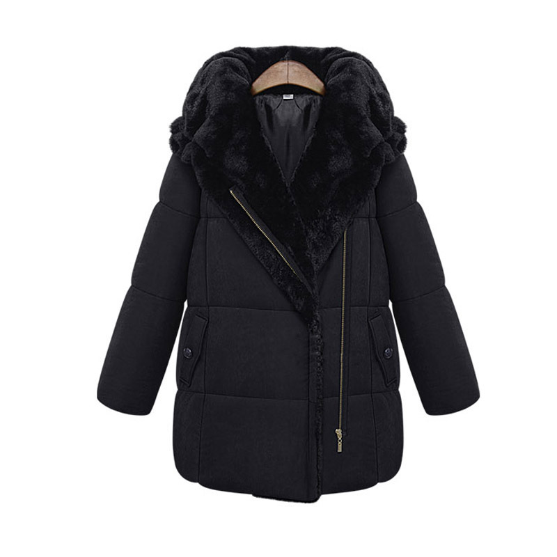 2014 winter women's fashion loose thickening wadded jacket medium-long plus size hood cotton-padded - Express shopping store