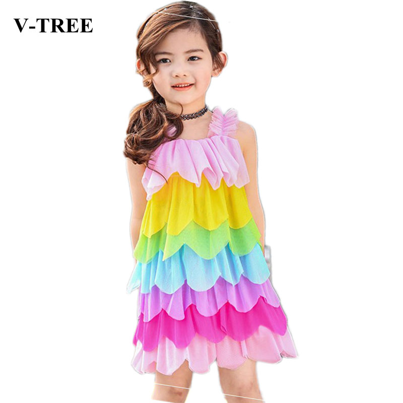 V-TREE Girls Dress Rainbow Kids Princess Dress Summer Beach Dresses Girls Children Lace Sweet Dress