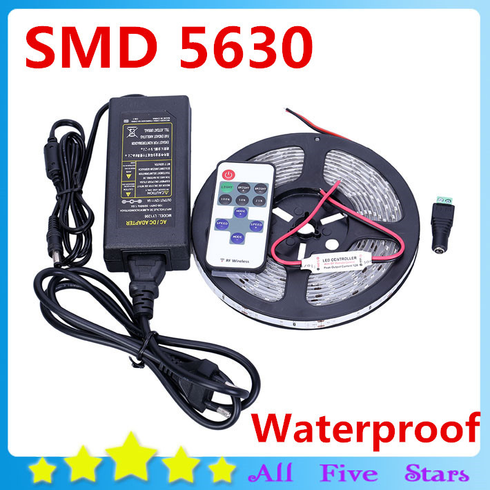 Waterproof 5630 LED Strip 5M/300LEDs SMD +12V 6A Transformer+ Wireless RF Controller Warm White Cool White Red Green Blue<br><br>Aliexpress