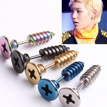 10pcs (5pairs) Fashion Earring,High Quality Stainless Steel Stud Earrings,colorful Screws Punk Men Earring(China (Mainland))