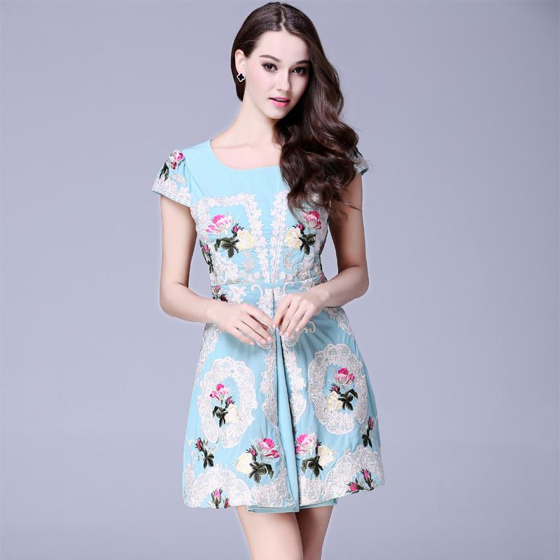 New 2015 women summer runway fashion Dresses elegant handmade flower embroidery designer dress slim A-line casual Dress D3826Одежда и ак�е��уары<br><br><br>Aliexpress