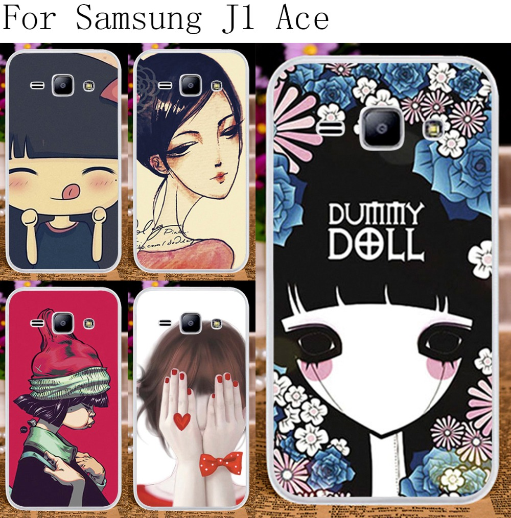 Phone Cases For Samsung Galaxy J1 Ace J110 4.3 inch J110F J110H Cases Cover Skin Unique Smournful Lady Cute Girls Print Bag(China (Mainland))