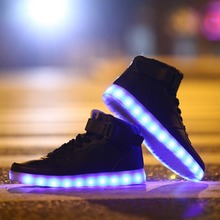 Fashion 8 Colors Men LED Shoes 2015 Autumn Winter High Top Growing Shoes For Man  Luminous Shoes White / Black Light Up Shoes(China (Mainland))