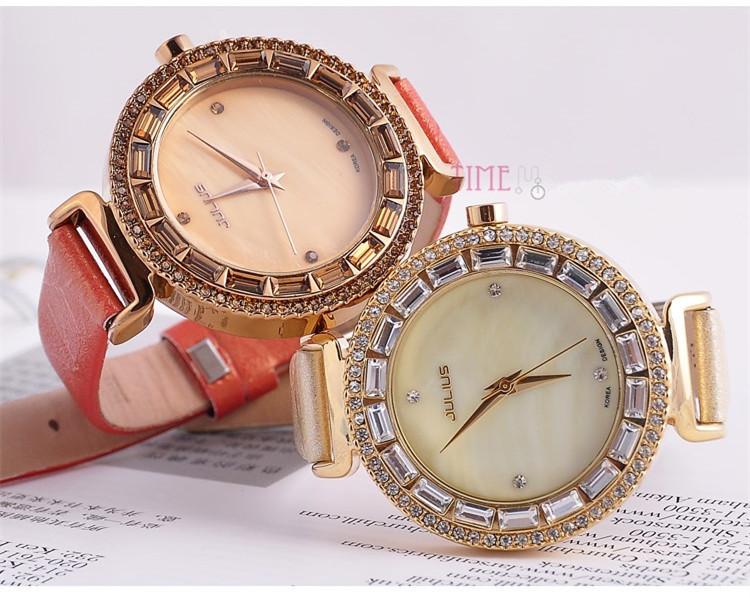 Женщин юлий леди наручные часы кварцевых часов лучший мода платье браслет кожаный горный хрусталь оболочки девушка рождественский подарок JA-512
