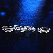 New Wholesale Fashion Brand CZ Diamond Jewelry For Women AAA Ruby Rhinestone Finger Rings Free Shipping