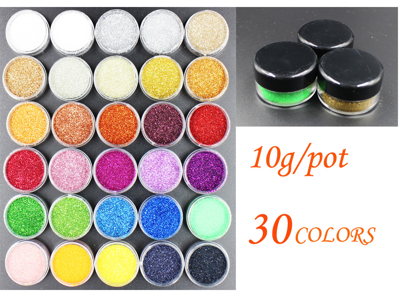 10g Nail Art Decorations Acrylic Glitters Powders For UV Nail Gel Polish Nail Tips Beauty Accessories ! 30 Colors Choices !(China (Mainland))