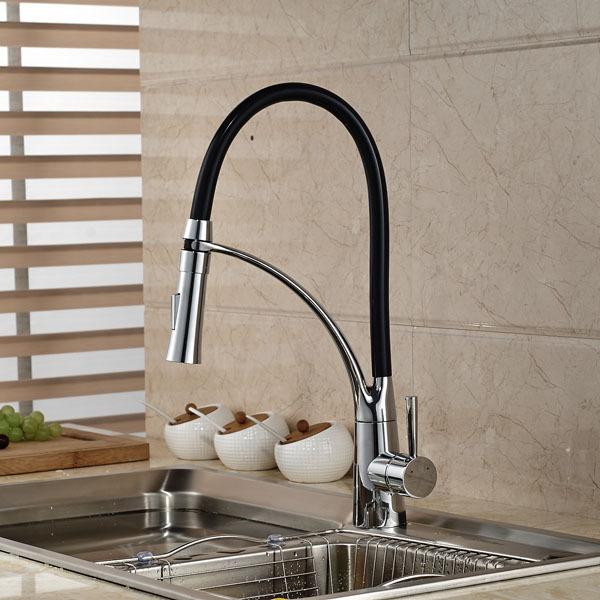 Black and Chrome Finish Kitchen Sink Faucet Deck Mount