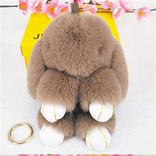 Fluffy Faux Rex Rabbit Fur Mulheres Keyring Trinket Keychain Pompons Coelho Lebre Anel Chave Do Carro Titular Saco Dolls Encantos Jóias presente(China)