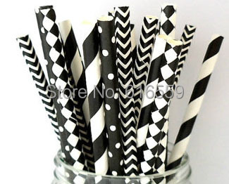 Free Shipping 200pcs/lot Black and White Mixed Paper Straws Masquerade,Paper Drinking Straws For Wedding Party Decoration(China (Mainland))