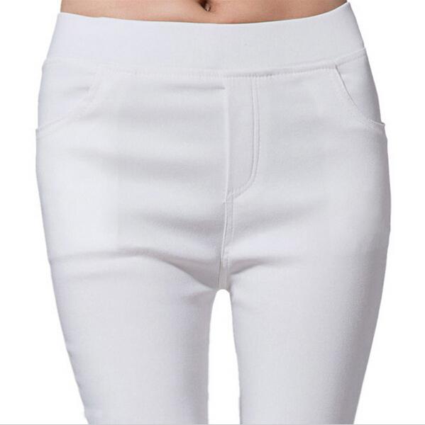 2016 весна и лето женщины карандашом тощий белый дамы хлопок высокой талии эластичные ...