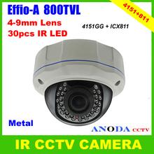 Outdoor Vandalproof Dome CCTV Camera 800TVL Sony Effio-A OSD Menu 4-9mm Varifocal Lens Metal Cover Security Camera(China (Mainland))