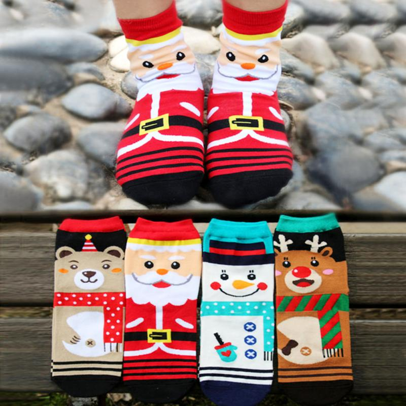 1 pair Candy Color Socks Fashion Christmas Sock Cartoon Cute Santa Claus - Lady Beauty Store store