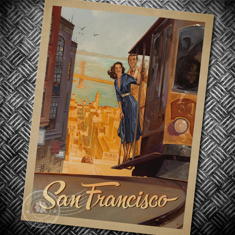 San Francisco Wall Sticker Retro Poster Motivational vintage Poster Hanging Decorative Print Painting Classic Poster Walls Paper(China (Mainland))