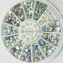 Vendita calda 5 taglie bianco multicolore acrilica della decorazione nail art glitter strass 2015 nuovo trasporto libero(China (Mainland))