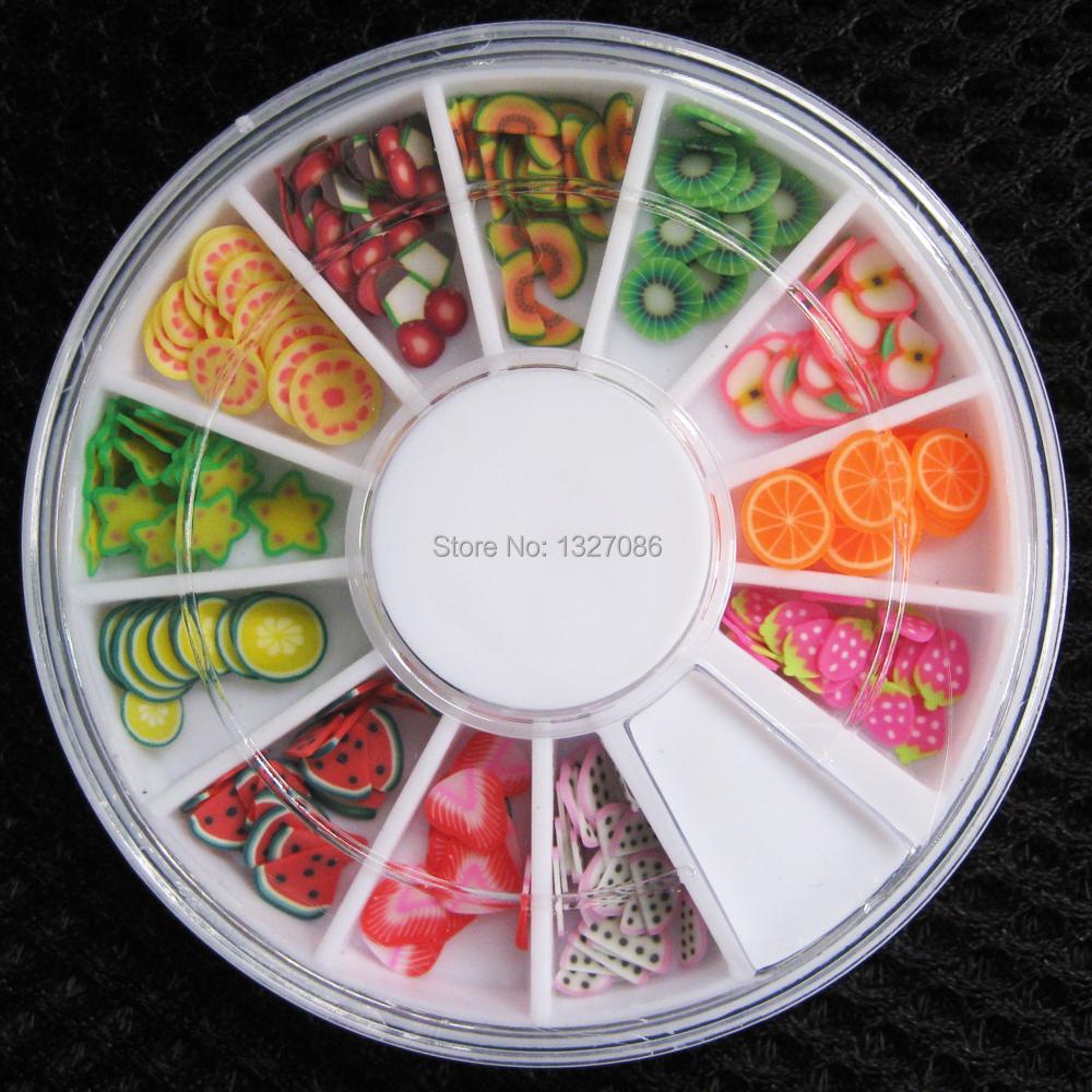 200 pcs 3D Polymer Clay Tiny Fimo Fruit slices Wheel Nail Art DIY Designs Wheel Nail Art Decorations Wholesale(China (Mainland))