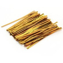 Shopping Time !100 Pcs Gold Metallic Twist Ties for Cello Candy Bags Party 8cm(China (Mainland))