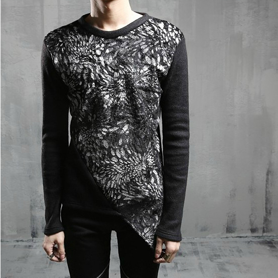 2016 Unique nightclub performances dancing mixed colors silk long sleeved slit t-shirt for men,casual slim tops tees,M-XL,CT201(China (Mainland))