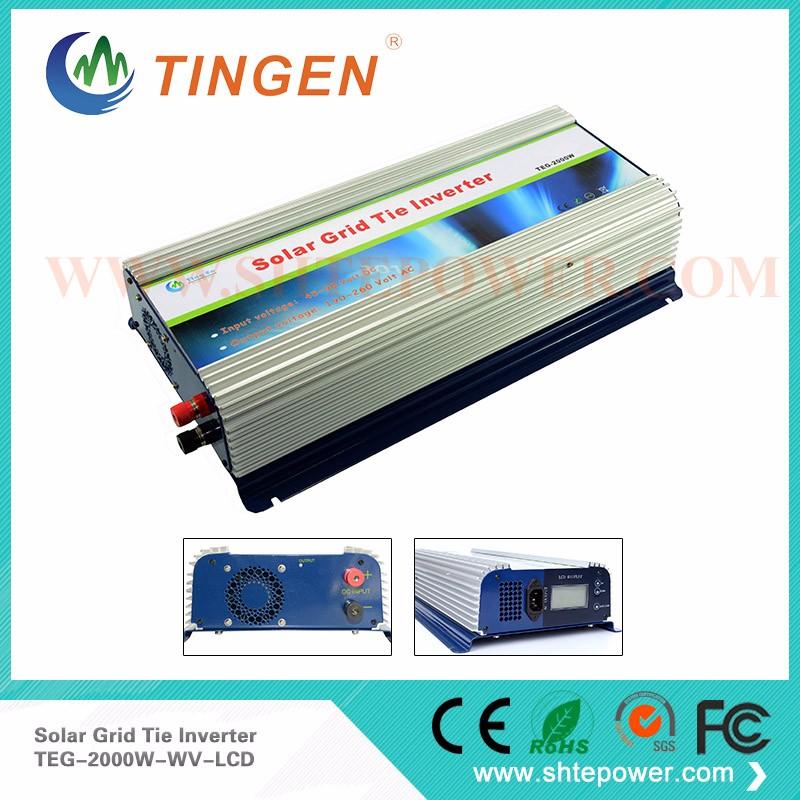 220V 48V Grid Tie Inverter 2KW Micro Inverter Grid Tie Solar With LCD Display DC 45V-90V Input(China (Mainland))
