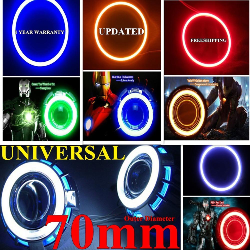 2015 CAR COB LED Angel Eyes Halo Ring Light Lamp LED Angel Eyes 70mm LEDS Car Headlight Bulb White Red Yellow Blue Green Purple(China (Mainland))