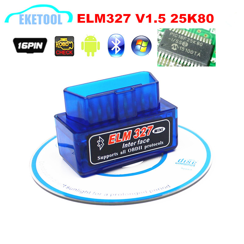 Hardware V1.5 Chip 25K80 New OBD2 ELM327 Bluetooth Auto Code Reader Super MINI ELM 327 Works ON Android Symbian Free Shipping(China (Mainland))