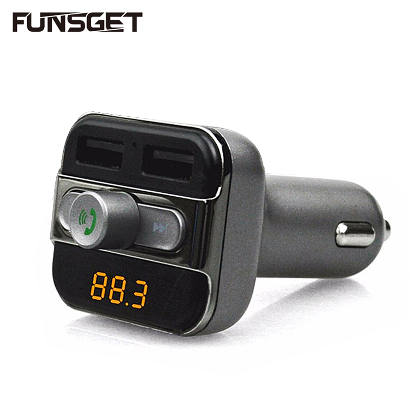 Funsget Bluetooth Car Kit Hands-free Fm Transmitter Car MP3 Player 3.4A 2 Usb Ports Car Charger for Mobile phones Iphone Samsung(China (Mainland))