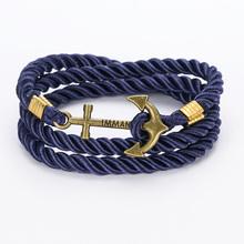 2016 New Arrive DIY Rope Black Blue Anchor Bracelet Fashion Women Men Hooks Bracelet Wholesale Bangle Charm Bracelets Jewelry(China (Mainland))