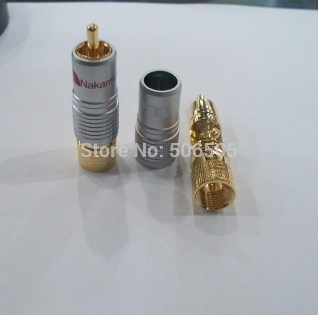 Free shipping Gold Plated NAKAMICHI RCA Plug Locking Non solder plug connector 20pcs/lot(China (Mainland))